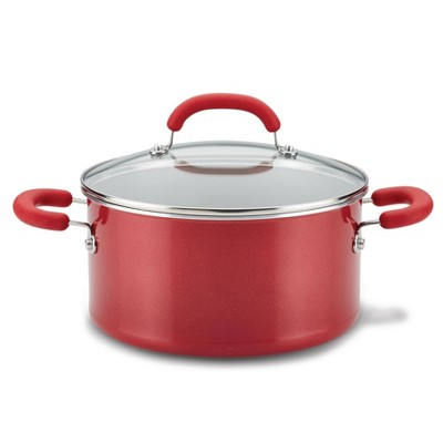 Rachael Ray Create Delicious 6qt Aluminum Nonstick Stock Pot with Lid Red