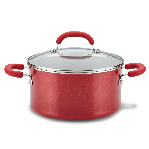 Rachael Ray Create Delicious 6qt Aluminum Nonstick Stock Pot with Lid Red - image 1 of 3
