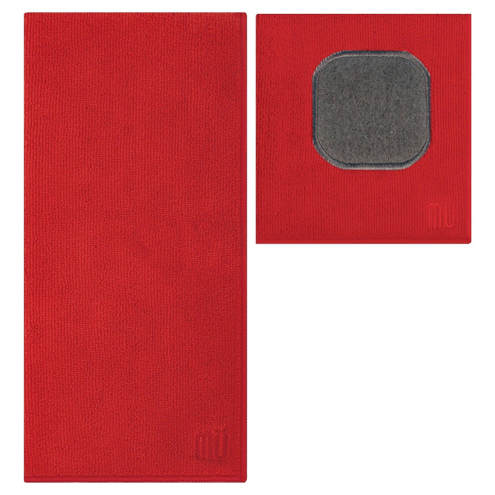 Image of 2pc Ultra Absorbent Solid Microfiber Kitchen Towel With Scrubber Cloth Red - Mu Kitchen