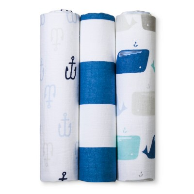 Muslin Swaddle Blankets By The Sea 3pk - Cloud Island™ Blue