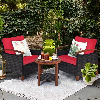 Costway 3PCS Patio Rattan Furniture Set Wooden Frame Cushion Table Shelf Red\Beige\Blue