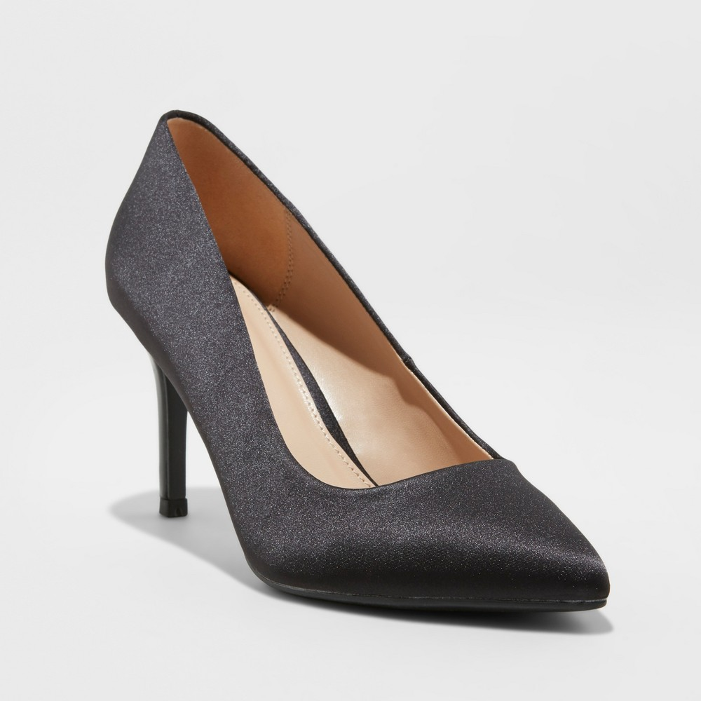 Women's Gemma Satin Patent Wide Width Pointed Toe Pump Heel - A New Day Black 5.5W, Size: 5.5 Wide