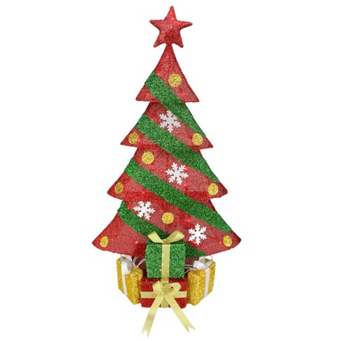 northlight 39 lighted red and green tinsel christmas tree with gifts outdoor decoration