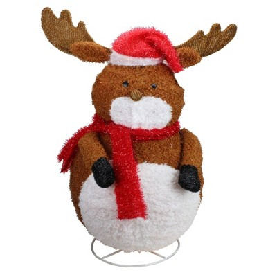 """Penn 24"""" Pre-Lit White and Brown 3D Chenille Reindeer Outdoor Christmas Yard Decor"""