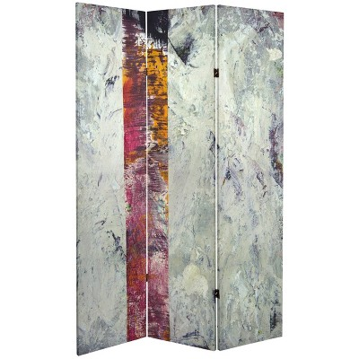 """6"""" Double Sided November Light Canvas Room Divider Gray - Oriental Furniture"""