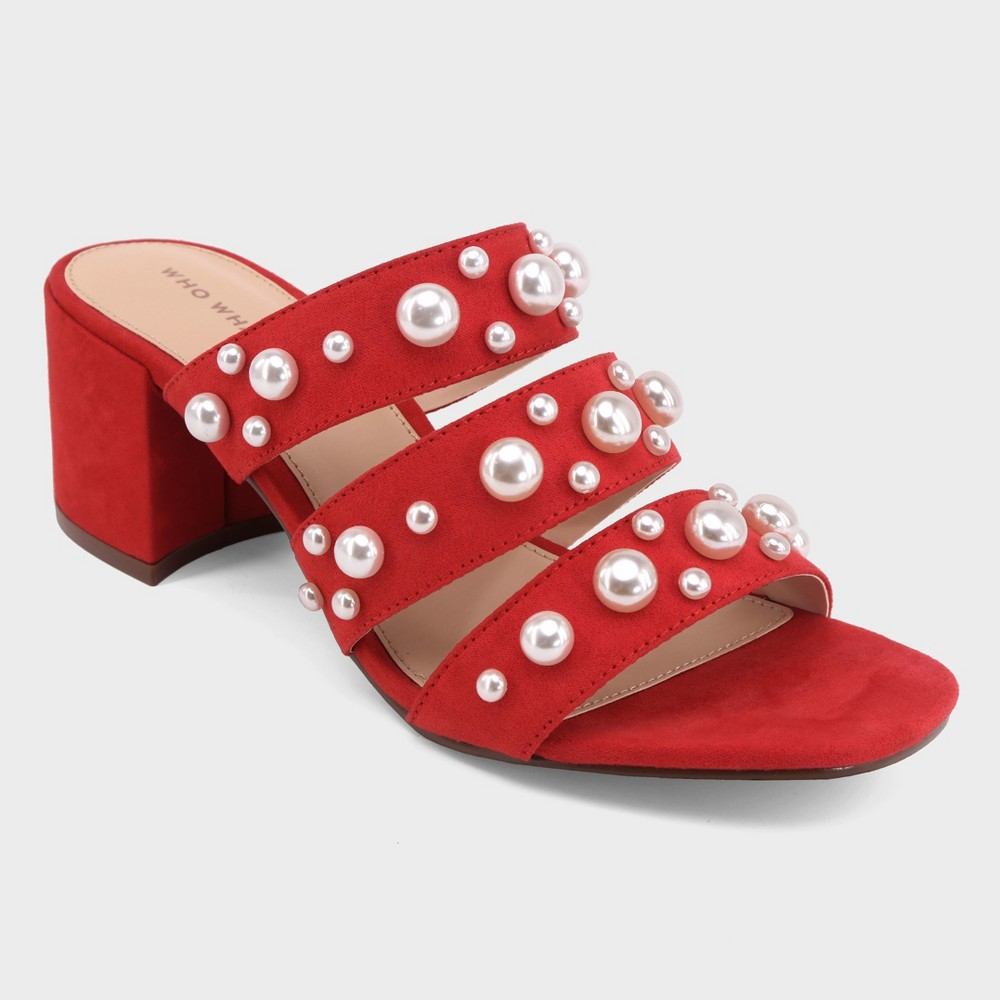 Women's Alice Multi Band Pearl Heeled Pumps - Who What Wear Red 9.5