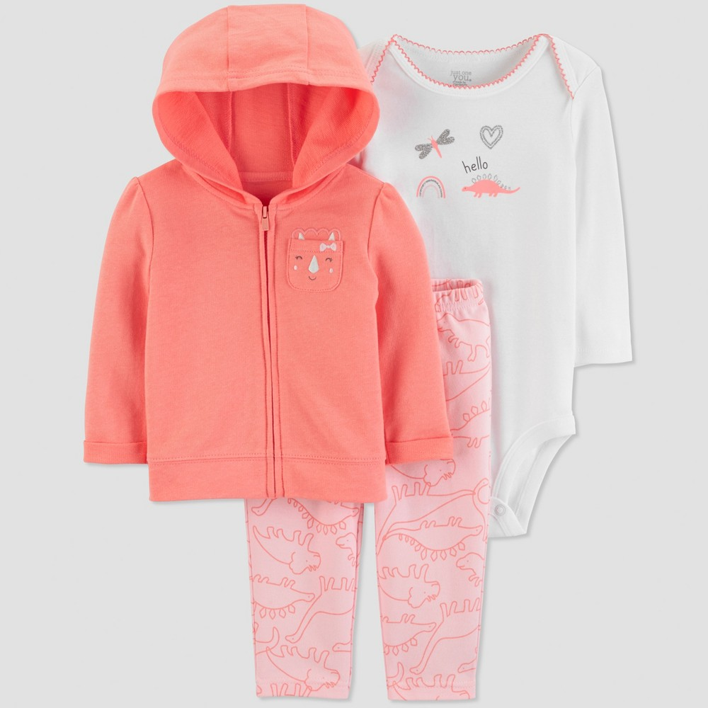 Baby Girls' 3pc Dino Long Sleeve Cotton Cardigan Set - Just One You made by carter's Coral/Pink/White 18M