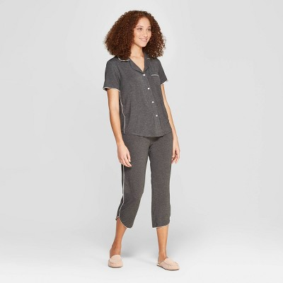 Women's Beautifully Soft Crop Notch Collar Pajama Set - Stars Above™