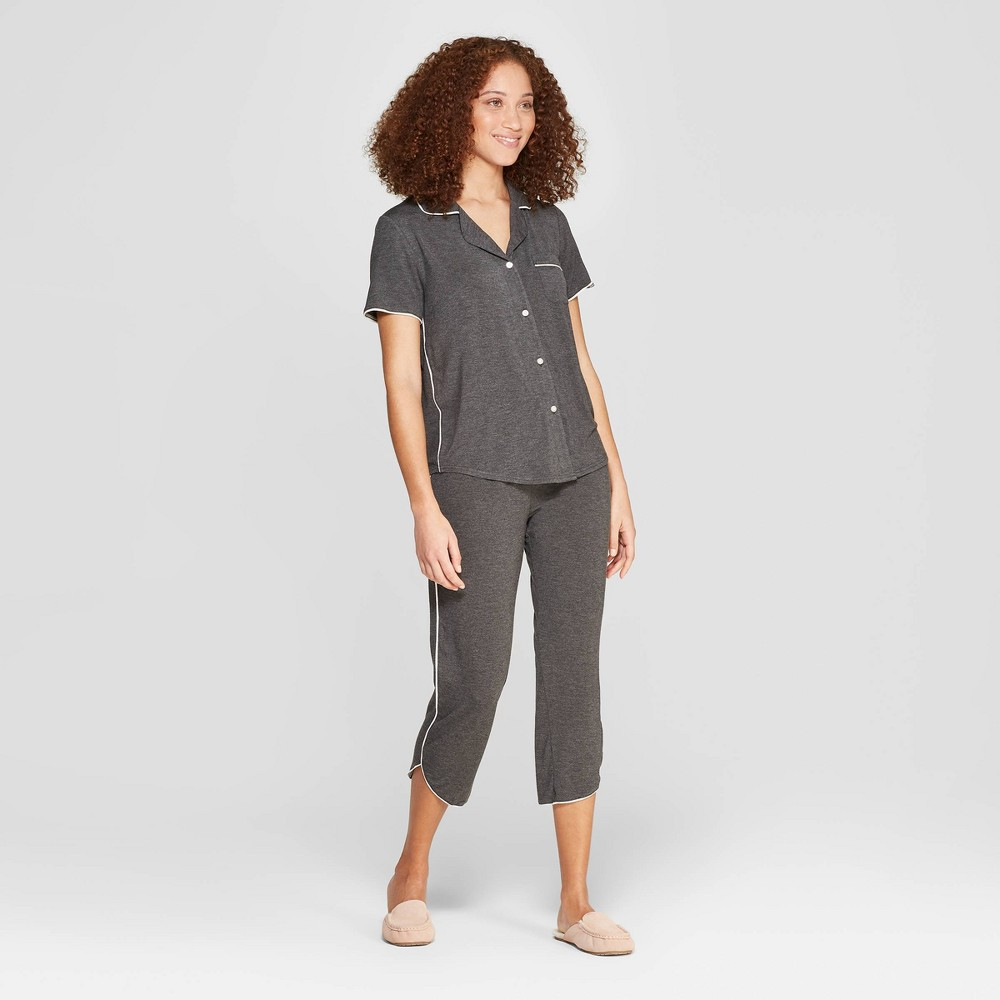 Women's Beautifully Soft Crop Notch Collar Pajama Set - Stars Above Gray S