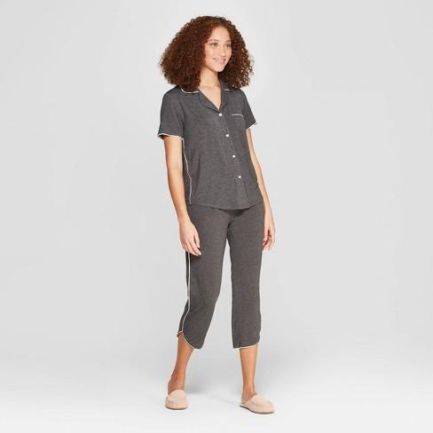 Women's Beautifully Soft Crop Notch Collar Pajama Set - Stars Above™ - image 1 of 2