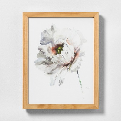 11  X 14  White Flower Wall Art with Natural Wood Frame - Hearth & Hand™ with Magnolia