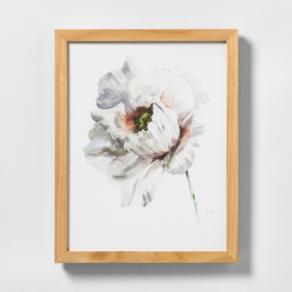 """Image of """"11"""""""" X 14"""""""" White Flower Wall Art with Natural Wood Frame - Hearth & Hand with Magnolia"""""""