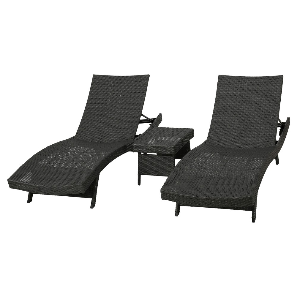 Salem 3pc Wicker Patio Adjustable Chaise Lounge Set - Gray - Christopher Knight Home