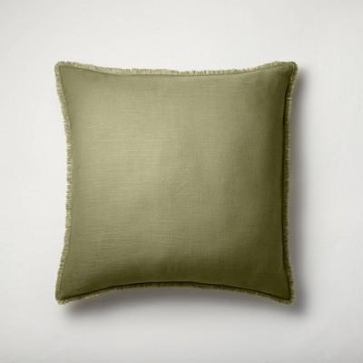 Euro Heavyweight Linen Blend Throw Pillow Moss Green - Casaluna™