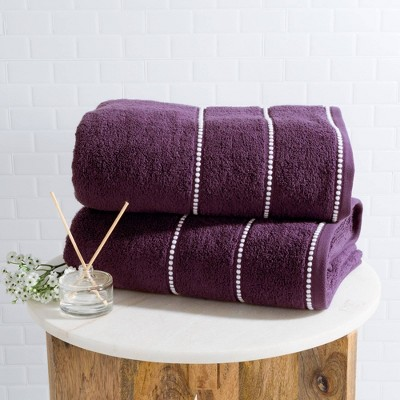 2pc Luxury Cotton Bath Towels Set Purple - Yorkshire Home