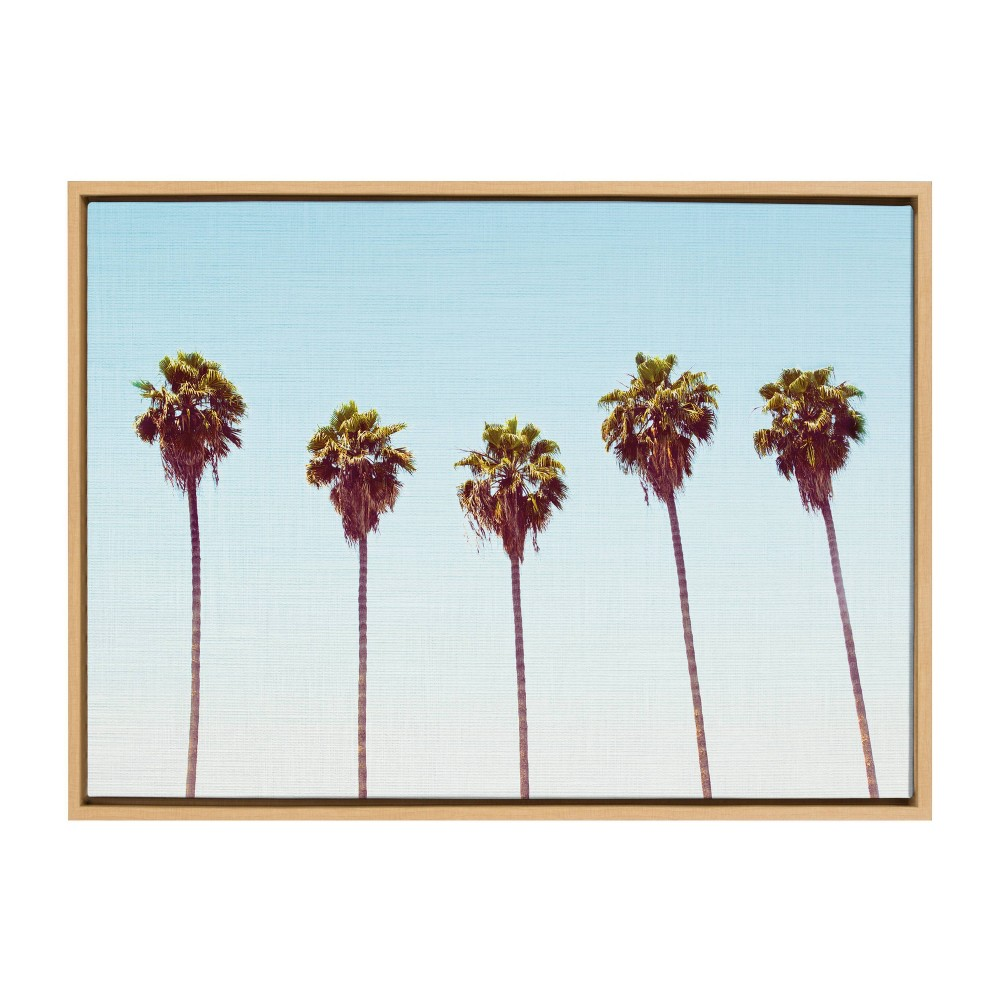 """Image of """"23"""""""" x 33"""""""" Sylvie Five Palms Framed Canvas Wall Décor By Simon Te Natural - Kate and Laurel, Brown"""""""