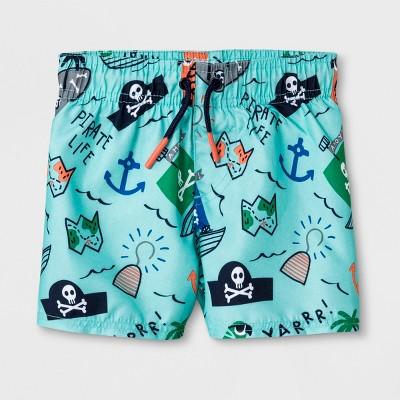 Baby Boys' Pirate Map Swim Trunks - Cat & Jack™ Blue 12M