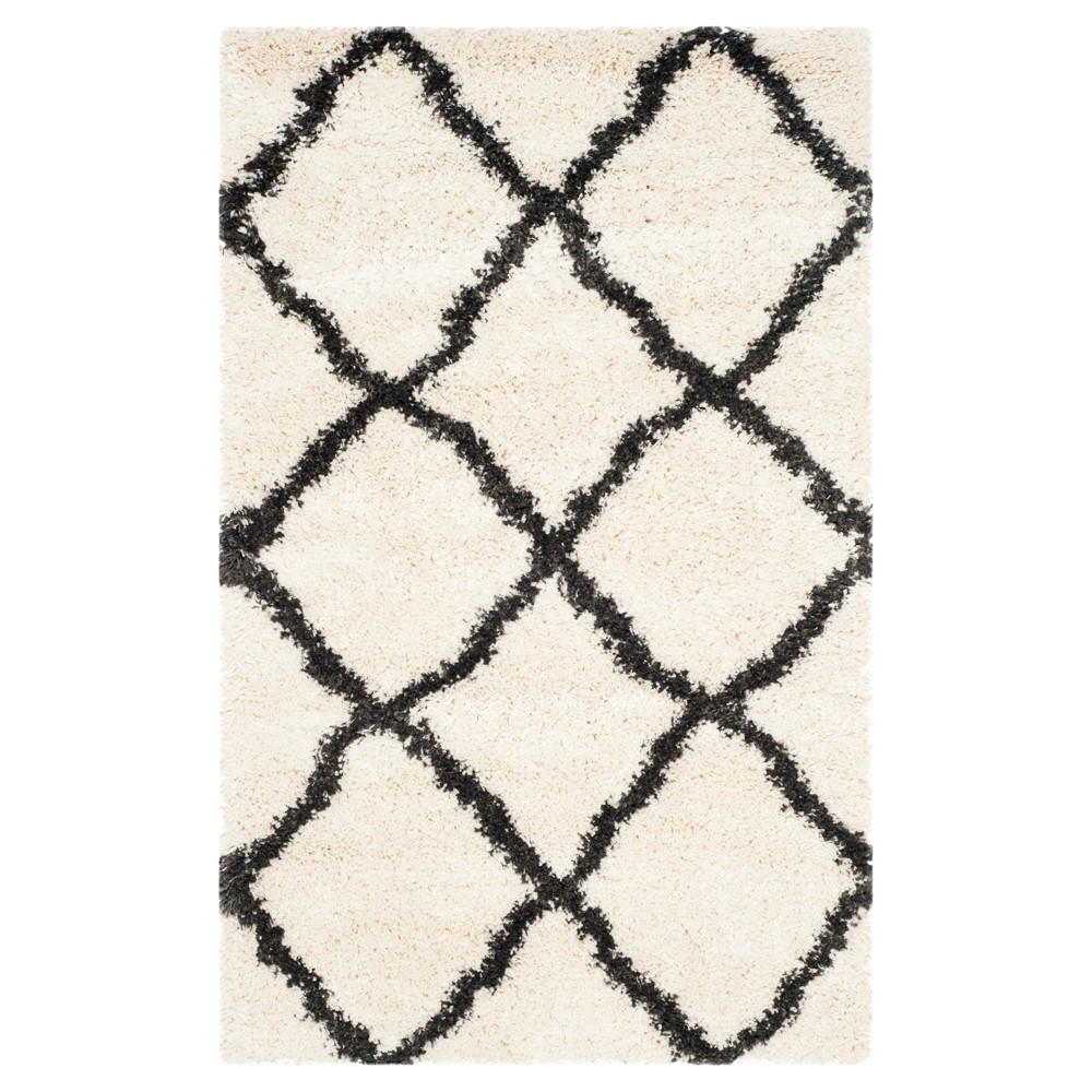 Ivory/Charcoal Abstract Loomed Area Rug - (4'x6') - Safavieh, Ivory/Grey