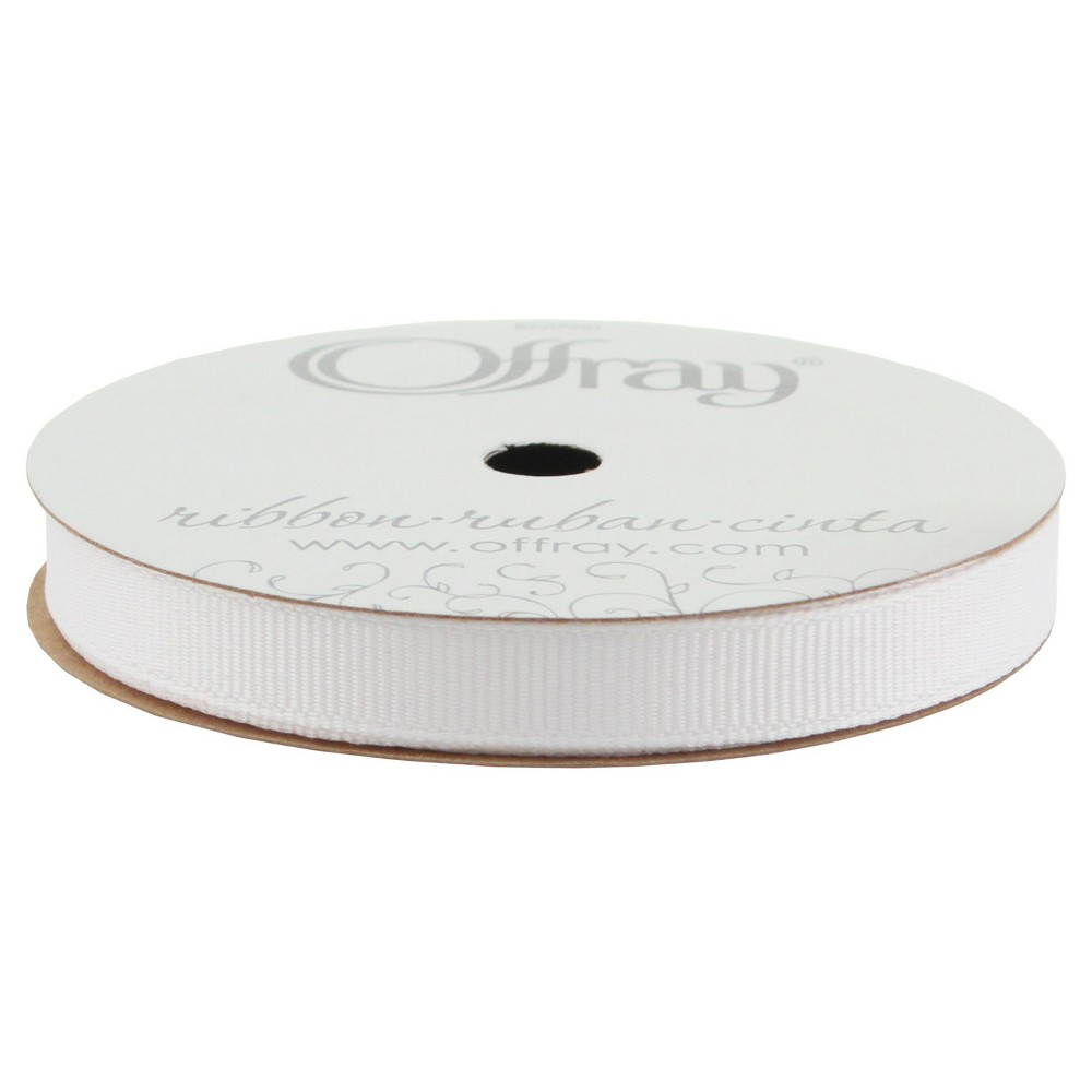 Offray Grosgrain Ribbon - 3/8 x 21ft - White