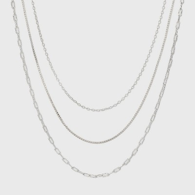 Plated Cable Box and Paperclip Chain Necklace Set 3pc - A New Day™ Silver