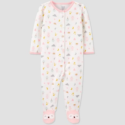Baby Girls' Fox Nature Interlock Sleep 'N Play - Just One You® made by carter's White 6M
