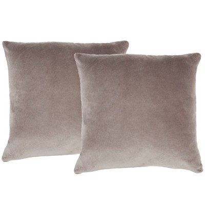 2pk Mina Victory Life Styles Solid Velvet Pillow Covers Brown - Nourison