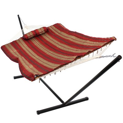 Awning Stripe Rope Hammock with Quilted Pad/Pillow and Stand - Red/Beige Stripe - Sunnydaze Decor
