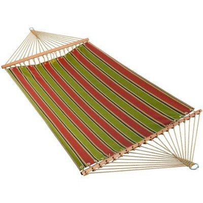 """Northlight 82"""" x 55"""" Weather Resistant Green and Red Striped 2-Point Double Hammock"""