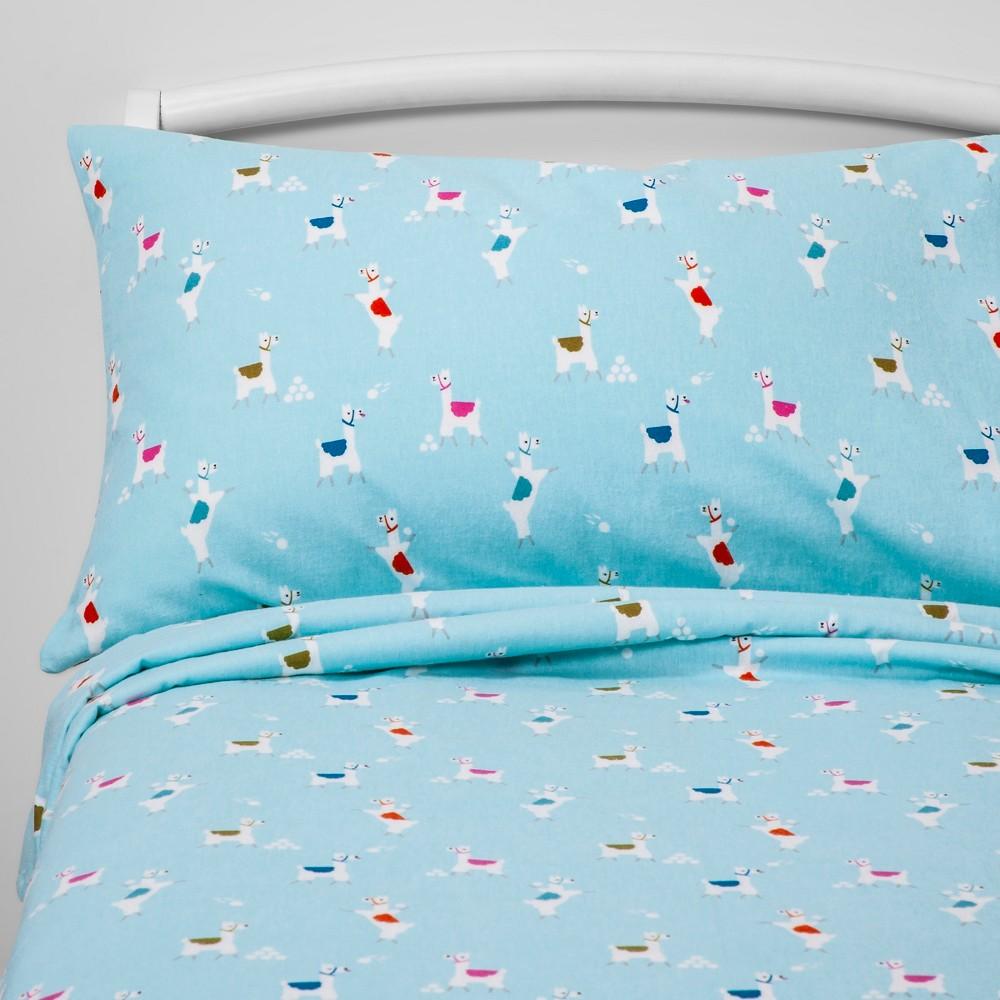 Toddler Llama Landing Flannel Sheet Set Blue - Pillowfort