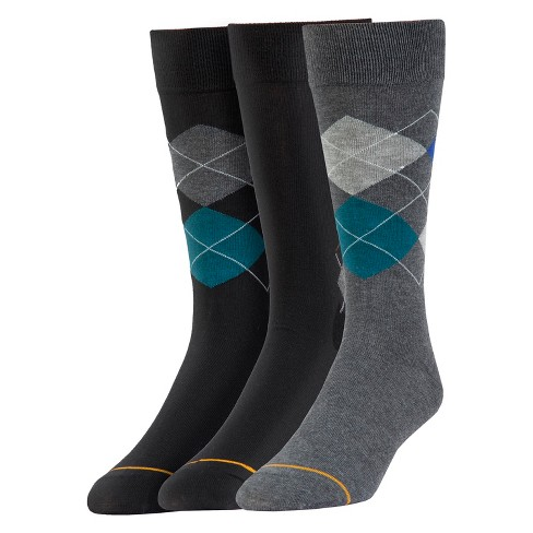 Signature Gold by GOLDTOE® 3pk Argyle Print Crew Socks - Black/Gray 6-12 - image 1 of 2