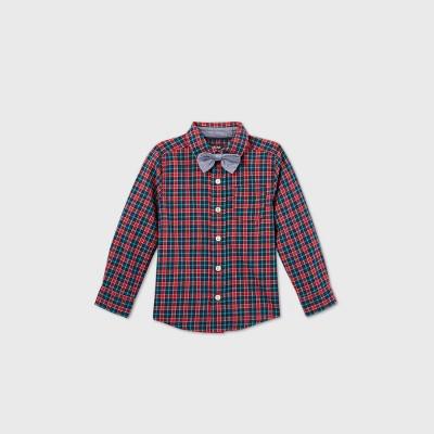 OshKosh B'gosh Toddler Boys' Plaid Woven Long Sleeve Button-Down Shirt and Bow Tie Set - Navy/Red 12M