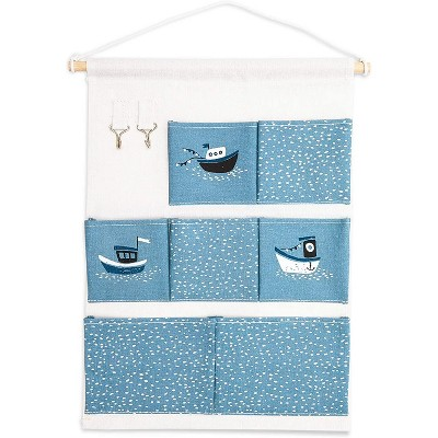 "Over the Door Closet Wall Hanging Organizer, Wall Mounted Storage Bag Case 7 Pockets Lined Cotton Fabric, Blue Nautical with Boat 13""x23.5"""