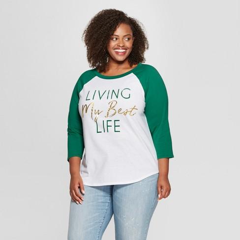 aa60381641cc7 Women s Plus Size 3 4 Sleeve Living My Best Life Raglan Graphic T-Shirt -  Freeze (Juniors ) White Teal