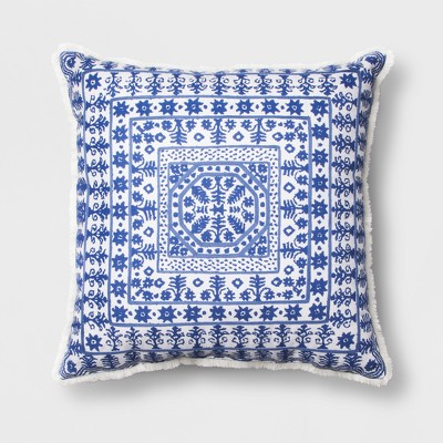 Blue Block Print Euro Throw Pillow (24 x24 )- Opalhouse™