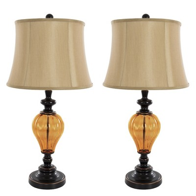 Table Lamps Amber Glass Set of 2 (Includes LED Light Bulb) - Yorkshire Home
