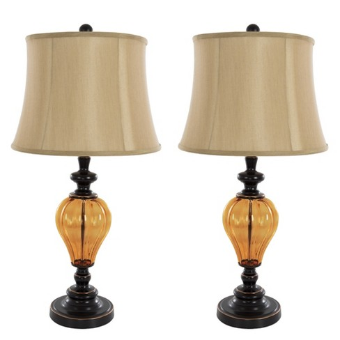Table Lamps Amber Glass Set of 2 (Includes Energy Efficient Light Bulb) - Yorkshire Home - image 1 of 4