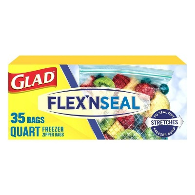 Glad Flex'N Seal + Freezer Storage Plastic Bags - 1 Quart 35ct