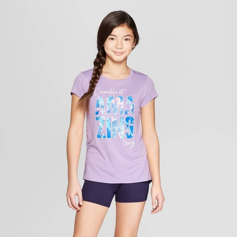 Girls' Capable Of Amazing Things Graphic Tech T-Shirt - C9 Champion® Light Purple - image 1 of 3