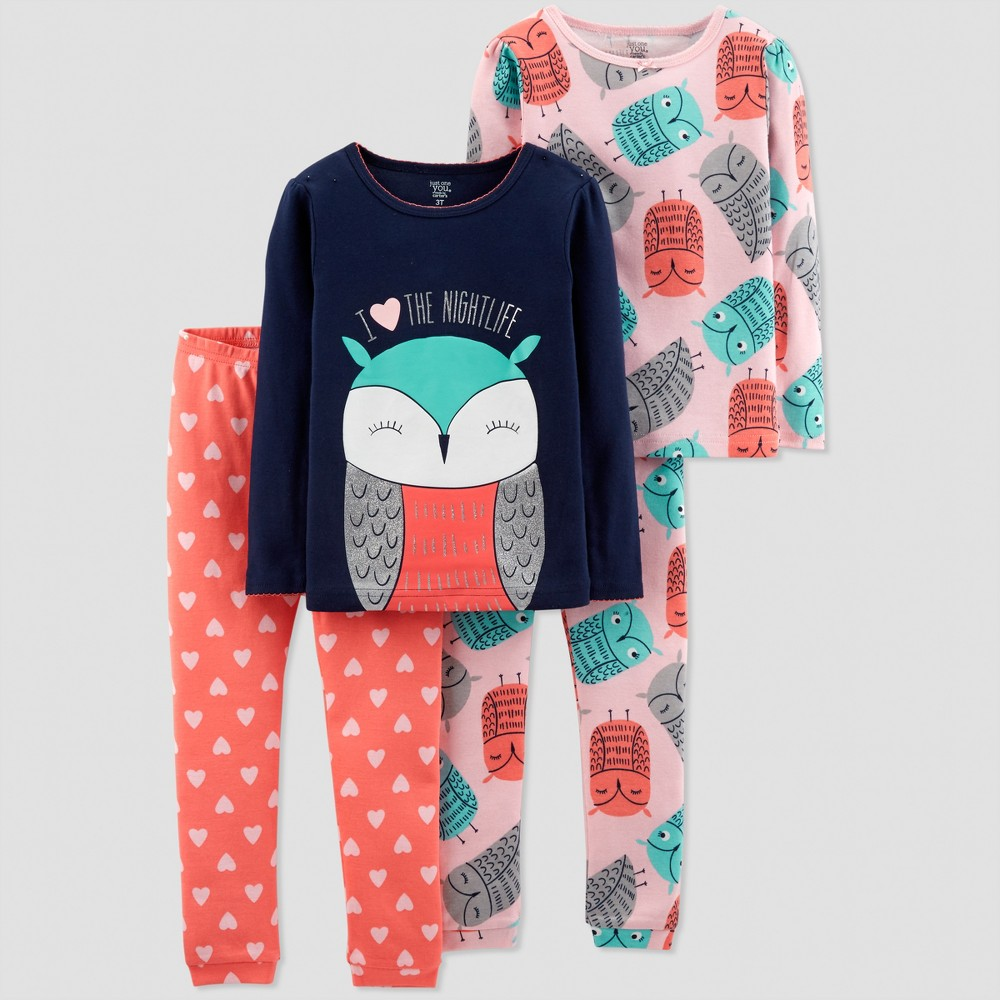 Baby Girls' 4pc Owl Pajama Set - Just One You made by carter's Blush 12M, Pink