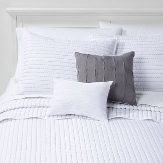 Full/Queen Clifford Stripe Comforter Set White/Gray - Hallmart Collectibles