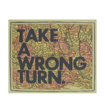 """Ganz 12"""" Inspirational Quote """"Take A Wrong Turn"""" Colorful Framed Atlas Map Hanging Wall Art"""