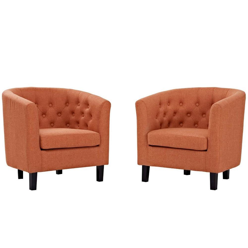 2pc Prospect Upholstered Fabric Armchair Set Orange - Modway