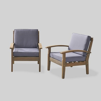 Peyton 2-Piece Outdoor Wooden Club Chairs With Cushions - Christopher Knight Home