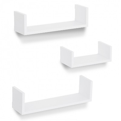 Americanflat Floating Shelves Made Of Composite Wood - Wall Mounted in Various Dimensions - Pack Of 3