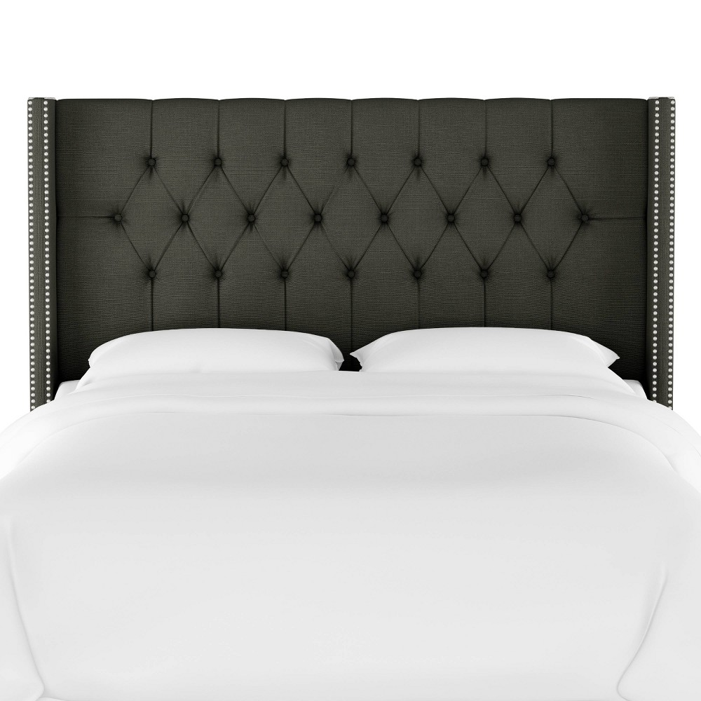 Queen Louis Diamond Tufted Wingback Headboard Slate Linen with Silver Nail Buttons - Skyline Furniture