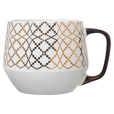 Threshold™ Tapered Base Mug 21oz Stoneware Set of 4- White/Gold Optical Wave