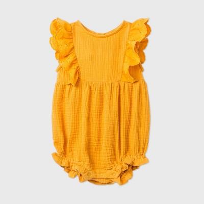 Baby Girls' Eyelet Ruffle Gauze Romper - Cat & Jack™ Gold 6-9M