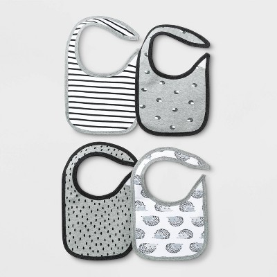 Baby 4pk Bib Set - Cloud Island™ Black/White One Size