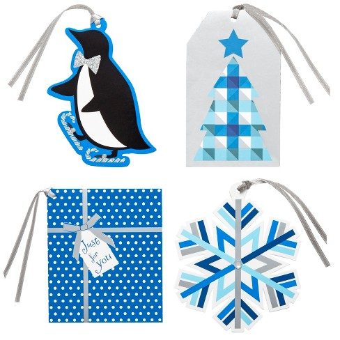 16ct Blue/Silver Premium Christmas Paper Gift Tag Set - Wondershop™ - image 1 of 5
