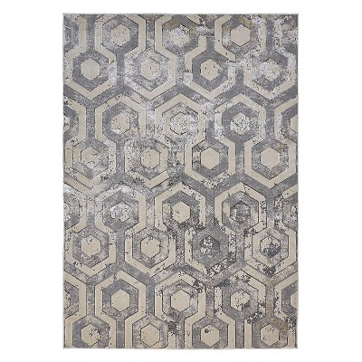 Feizy Micah Distressed Geometric Gray Area Rug